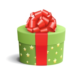 Green celebration gift box with red bow isolated vector