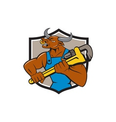 Minotaur bull plumber wrench crest cartoon vector