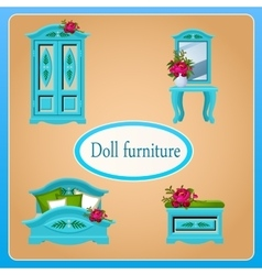 Blue doll furniture four objects vector