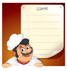 Cartoon chef with blank menu vector