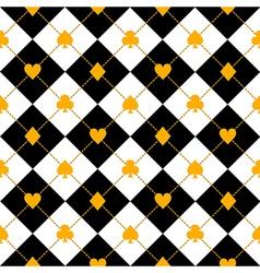 Card suits black royal white diamond vector