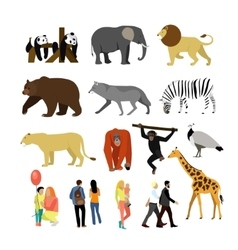 Zoo animals isolated on white background vector