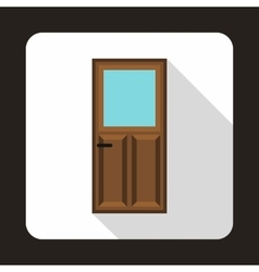 Wooden door with glass icon in flat style vector