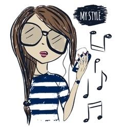 Cute fashionable girl in sunglasses fashion girl vector