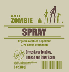 anti zombies spray label vector image
