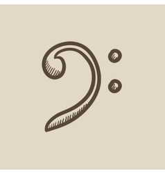 Bass clef sketch icon vector
