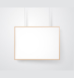 blank wood frame on the wall mockup ready for a vector image vector image