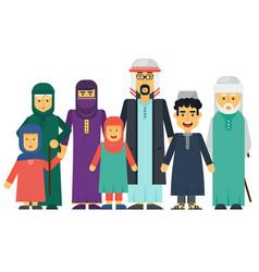 Cartoon arab muslim family set vector