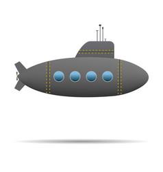 Cartoon submarine dark realistic submarine on vector