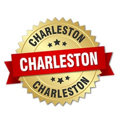Charleston round golden badge with red ribbon vector