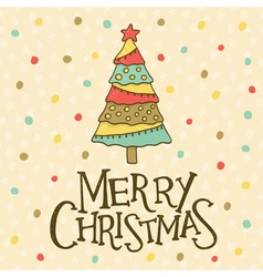 christmas card with tchristmas ree vector image vector image