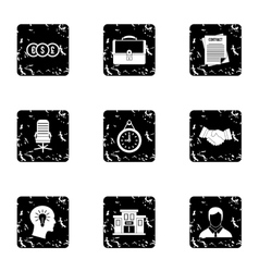 Company icons set grunge style vector