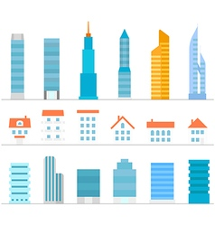 Different buildings color silhouettes collection vector