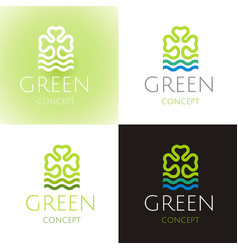 Ecological symbol logo set with clover leaf water vector
