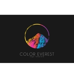 Everest logo Color everest Mountain logo Color vector image vector image