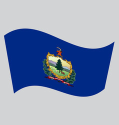 Flag of vermont waving on gray background vector