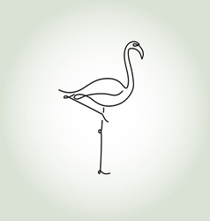 Flamingo in a minimal line style vector image