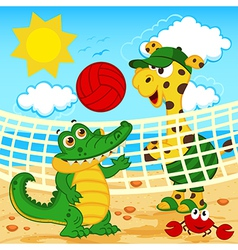 Giraffe crocodile playing in beach volleyball vector
