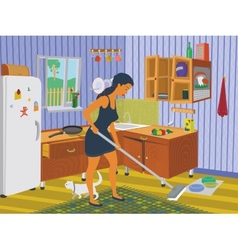 Girl cleaning the kitchen vector image vector image