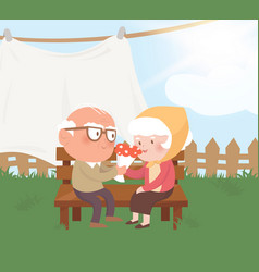 Happy old couple vector