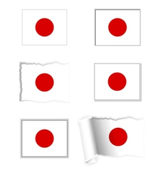 Japan flag set vector