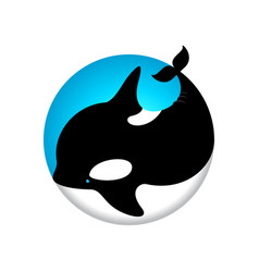 Logo cute whale orca blue vector