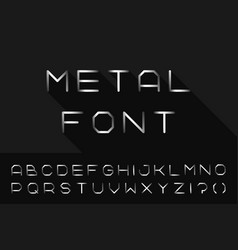 Metal font iron english alphabet steel latin vector
