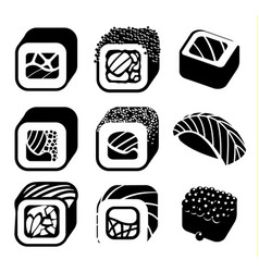 Monochrome japanese food color cartoon style vector
