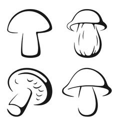 Mushrooms black icon set vector