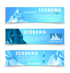 Nature information banners template with iceberg vector