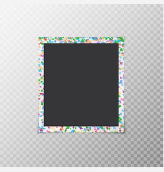 Photo frame with colored confetti vector