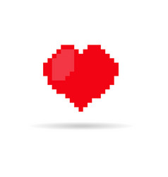 pixel style heart icon vector image vector image