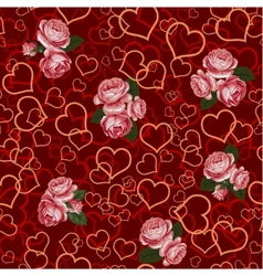 red rose and heart seamless vector image vector image