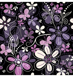 Repeating black floral pattern vector image vector image