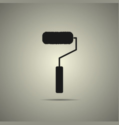 roller brush icon in flat black and white style vector image vector image