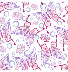 Seamless butterflies contours vector