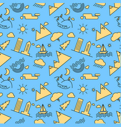 seamless linear pattern with icons of city vector image vector image