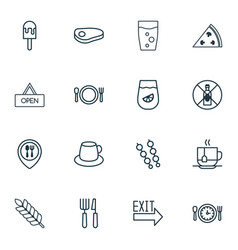 Set of 16 food icons includes lemonade pepperoni vector