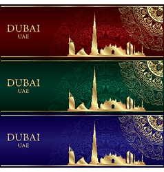 Set of dubai skyline silhouette vintage background vector