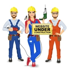 Set of two workmen and workwoman vector
