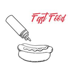 Sketch hot dog ketchup mustard bottles set vector