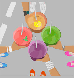 Sport girls holging smoothies in hands top view vector