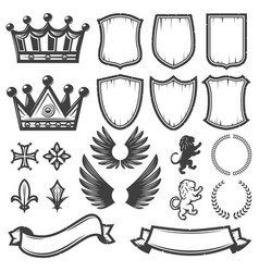 vintage monochrome heraldic elements collection vector image