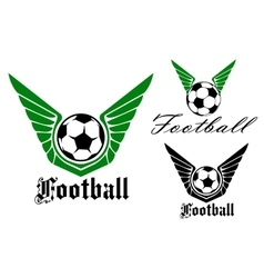 Winged football or soccer emblem vector