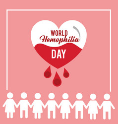 World hemophilia day people together heart care vector