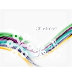 Wave line with snowflakes christmas abstract vector