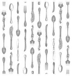 Vintage silverware pattern vector