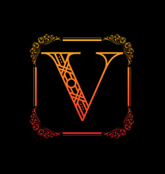 Letter v with ornament vector