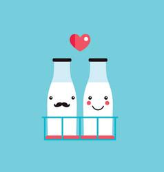 milk bottles couple cute hipster cartoon vector image