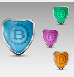 Shield with bitcoinemblem vector